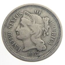 1867 United States 3 Cents Nickel Die Cracks Circulated KM 95 USA Coin T557