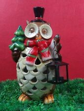 Owl garden deco,Ceramic Solar Light,LED colour changing, H33cm