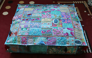 """Indian square 35"""" Vintage Turquoise cotton Patchwork Ottoman Floor Cushion cover"""