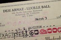 Lucille Ball - Desi Arnaz 1957 Desilu I LOVE LUCY Check #1834 A.E. Hamilton