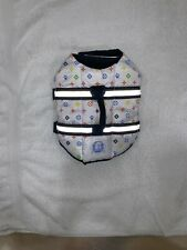 Paws Aboard Dog life vest XS nautical print with leash ring &reflective stripes.