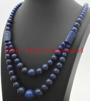Pure Natural 6-14mm Double Row Round Lapis Lazuli Gemstone Necklace 17-20""