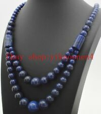 "Pure Natural 6-14mm Double Row Round Lapis Lazuli Gemstone Necklace 17-20""AAA"