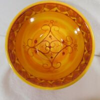 """Pier One Karistan Cereal Bowls 6"""" Set of 2 Handpainted Earthenware Discontinued"""