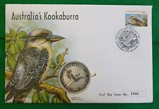 Australia 1oz .999 Fine Silver 1 Dollar Kookaburra 1996 First Day Cover + COA