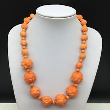 Coral Orange Acrylic Carved Graduated Beaded Flower Floral Necklace
