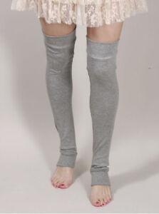 Cotton Over the Knee Socks Gray Legwarmers Grey Leggings Leg Warmers Thigh Highs