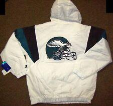 PHILADELPHIA EAGLES NFL Starter Hooded Half Zip Pullover Jacket M XL WHITE