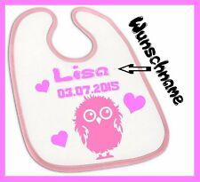 Baby Lätzchen mit Wunsch-Name Küken für Mädchen in rosa