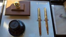 PARKER  ATHENS FOINTAIN & BALLPOINT PEN SET & PENMAN SAPPHIRE INK ROCKER   NEW