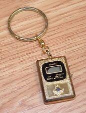 *FOR PARTS* FreeMason Gold Tone Quartz Digital Pocket Watch Key Chain *READ*