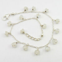 Blue RAINBOW MOONSTONE Beads Bracelet 23.7 cm 925 Pure Silver Art Gemstone