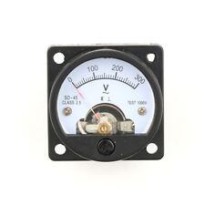SO-45 AC 0-300V Round Analog Dial Panel Meter Voltmeter Gauge Black Nice