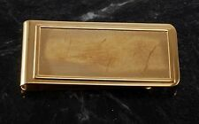 VTG Collectible Gold Plated Brass Rectangle With Recess Money Clip NOS w Damage