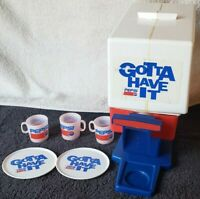 Vintage PEPSI COLA Advertising Plastic Toy Dispenser with 3 Cups & 2 Coasters