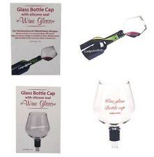 NOVELTY GLASS BOTTLE CAP WITH SILICONE SEAL WINE GLASS  TOP TURNS YOUR BOTTLE OF