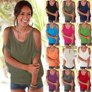Womens Casual Blouse Shirt Tee Holiday Ladies Cold Shoulder Loose Summer Tops UK