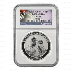 Brand New 2013 Australian Silver Kookaburra 1oz NGC MS69 Graded Silver Coin