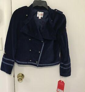 Little Orphan Annie Jacket Military Blazer Blue Velvet Girls Size 10-12