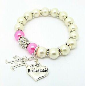 Personalised Initial Bridesmaid Flowergirl Wedding Charm Bracelet Gift Bag