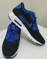 NIKE Men's AIR MAX 90 ULTRA ESSENTIAL White Black Blue Shoes Sneakers US8 UK7