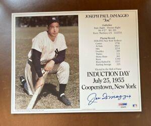 Joe DiMaggio Signed Auto 8x10 Induction Day Photo Card PSA/DNA LOA