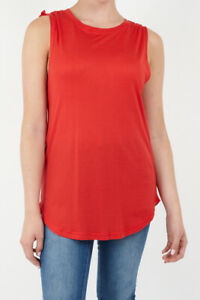 Size 18-22 Red Ruched Drawstring Shoulder Long Vest Tank Top Sleeveless T.Shirt