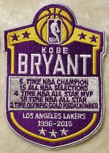 """Kobe Bryant Commemorative 4"""" LA Lakers Iron On Embroidered Patch~FREE Ship!"""