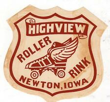 NEWTON IOWA*HIGHVIEW ROLLER RINK*SKATE*WING*VINTAGE ROLLER SKATING DECAL STICKER