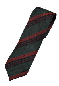 Drake's – Forest Green Grenadine Silk Tie w/Orange & Navy Regimental Stripe