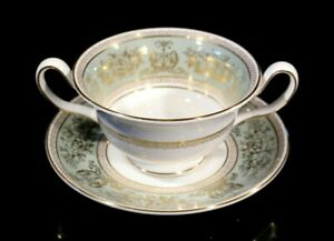 Beautiful Wedgwood Columbia Sage Green Footed Cream Soup Bowl
