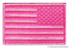 AMERICAN FLAG EMBROIDERED PATCH iron-on PINK LADIES REVERSE SHOULDER LEFT