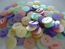 100 Assorted Fisheye Baby Girl Buttons Size 26 - 17mm Pink Lilac Cream MINT