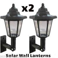 X2 Led Energia Solare Lanterna da Muro Lampada Sole Luci Nero Esterno Montatura