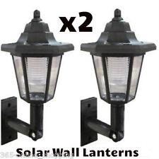 X2 Led Energía Solar De Pared Linterna Lámpara Sol Luces Negro Outdoor Mount Jardín