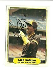 Luis Salazar 1982 Fleer autographed auto signed card Padres