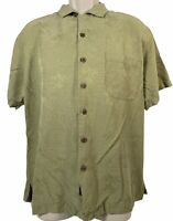 Tommy Bahama Shirt Size M Men's Green Top Short Sleeve Tropical Button Down
