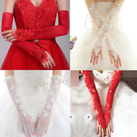 Ladies Evening Prom Wedding Bridal Party Fingerless Pearl Lace Satin Long Gloves