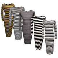 Womens Ladies Stripe Long Sleeve Bodycon Midi Dress
