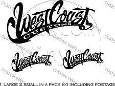 West Coast Customs Vinyl Decals x3, Pared, vidrio, puerta, aplicar prácticamente en cualquier lugar