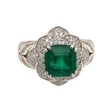Deep Green Perfect Asscher Cut Emerald With Sparkling Round CZ Engagement Ring