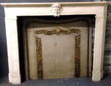 cheminée régence sculpute tête de phone  marbre blanc de carrare . XIX siècle .