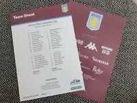 Aston Villa v Leicester Carabao Cup Semi-Final 28/1/20 ORIGINAL TEAMSHEET ONLY!!