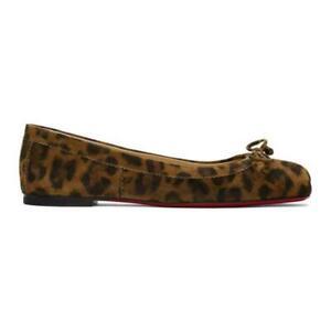 Christian Louboutin MAMADRAGUE Suede Ballerina Ballet Flat Shoes Leopard $645
