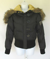 DKNY DOWN FEATHER FILLED JACKET BLACK SIZE LARGE FAUX FUR COLLAR NYLON ACRYLIC