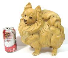 "Vintage Pomeranian Dog Figurine 9"" Ceramic Mold Painted Pottery Puppy Statue"