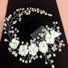 1Pc Wedding Pearl Crystal Women Bridal Flower Headband Hair Comb Headpiece