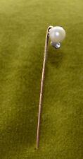 Un alfiler de corbata una blanca perla 14 quilates de oro 1950 años Alemania