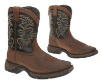DURANGO Cowboy Boots 3 M Boys Youth Brown Leather Western Rodeo Roper Boots