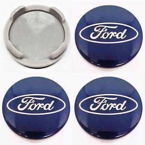 4x Ford 54mm Wheels Centre Caps Alloy Fit Fiesta Focus C-Max CA Kuga B-Max Blue